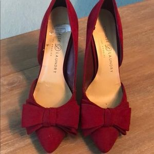 Red Swede high heels with bows -size 6